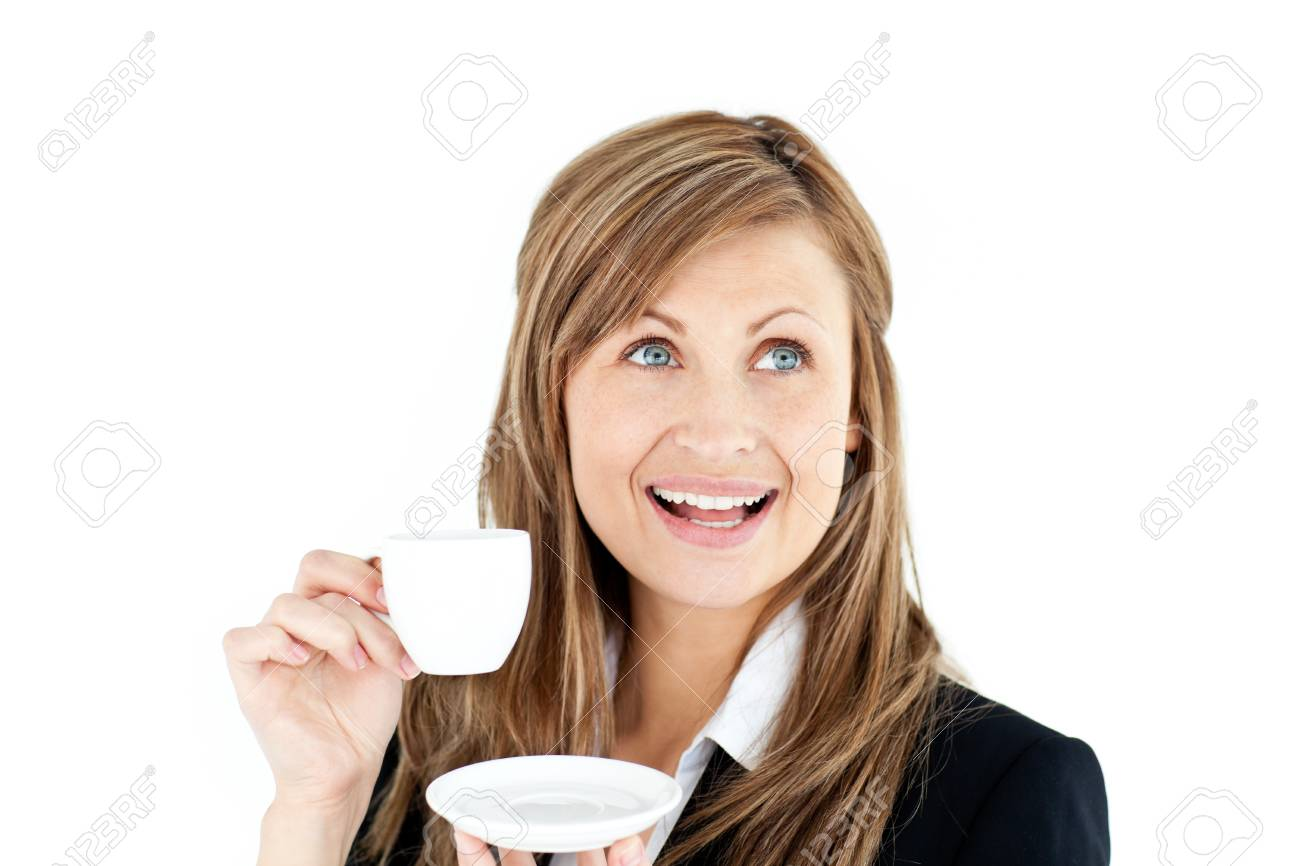 Elegant young businesswoman holding a cup of coffee Stock Photo - 10137517