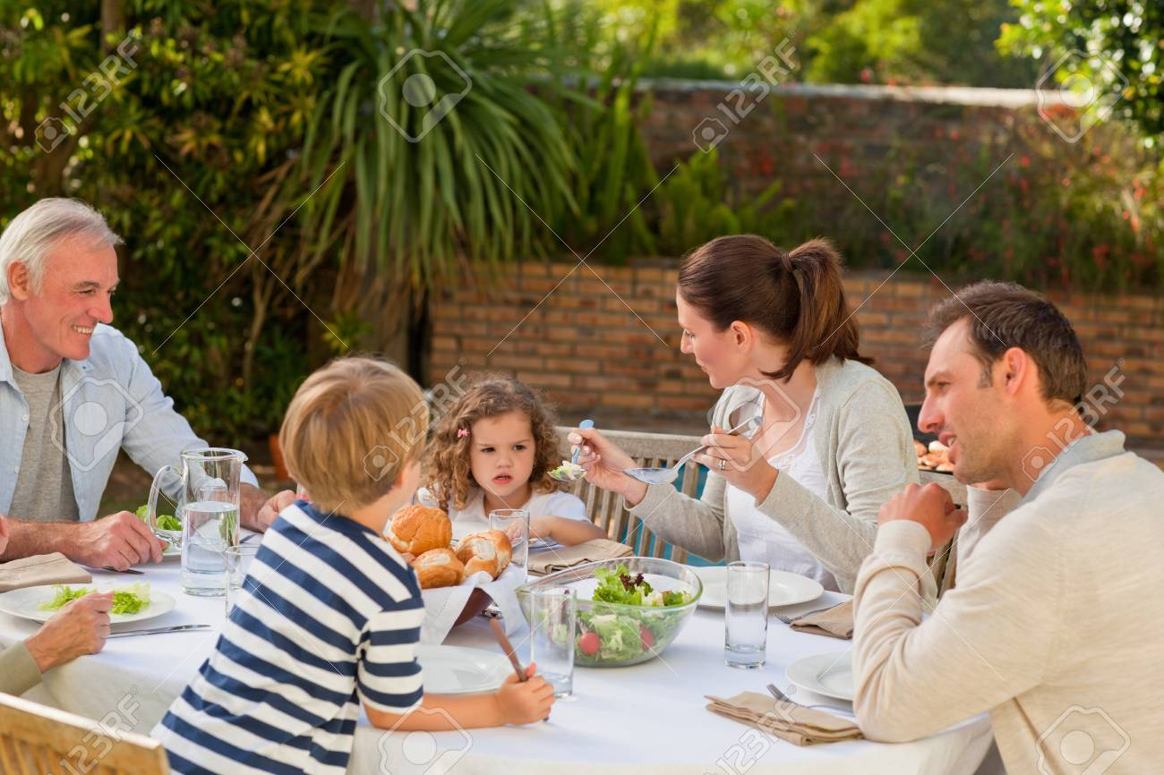 Family eating in the garden Stock Photo - 10190107