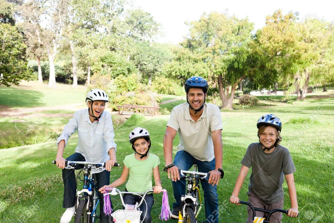 Family with their bikes Stock Photo - 10197463