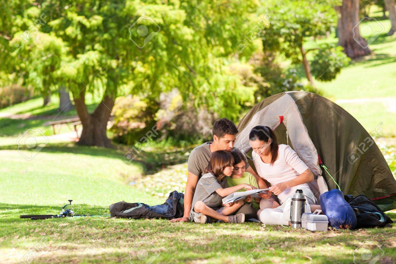 Family camping in the park Stock Photo - 10192205