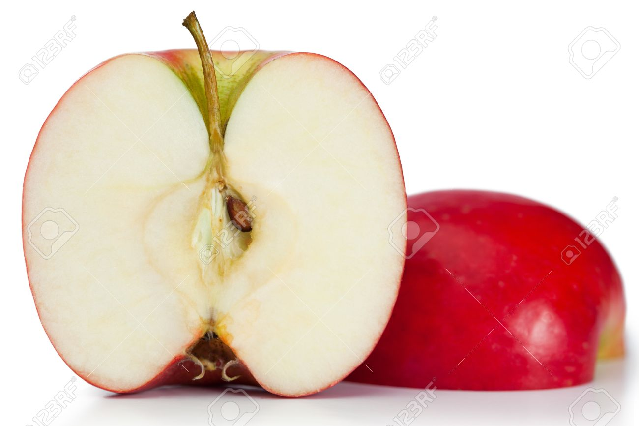 Red halved apple on a white background Stock Photo - 10197804