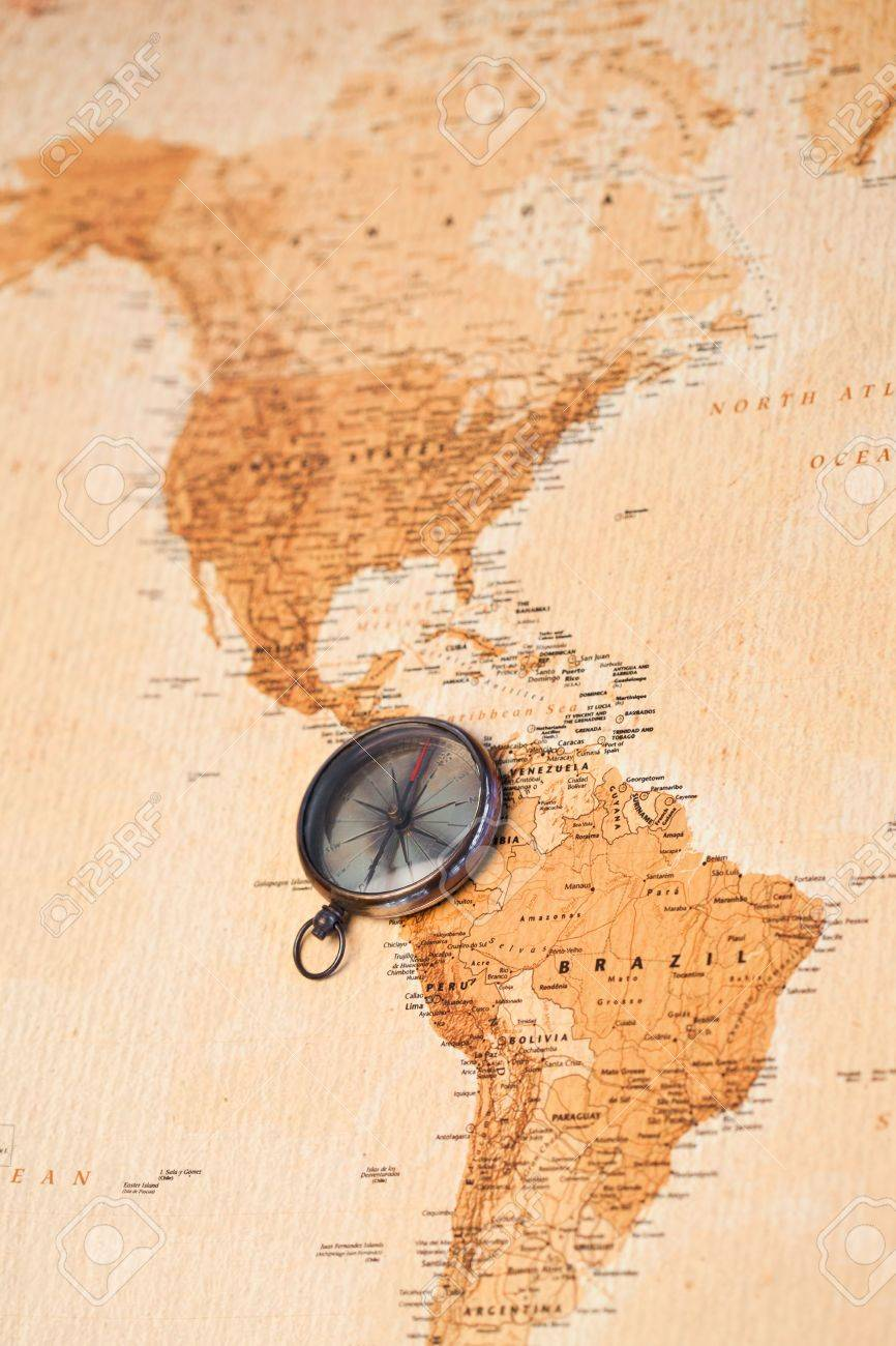 America Map With Compass.World Map With Compass Showing North And South America Stock Photo