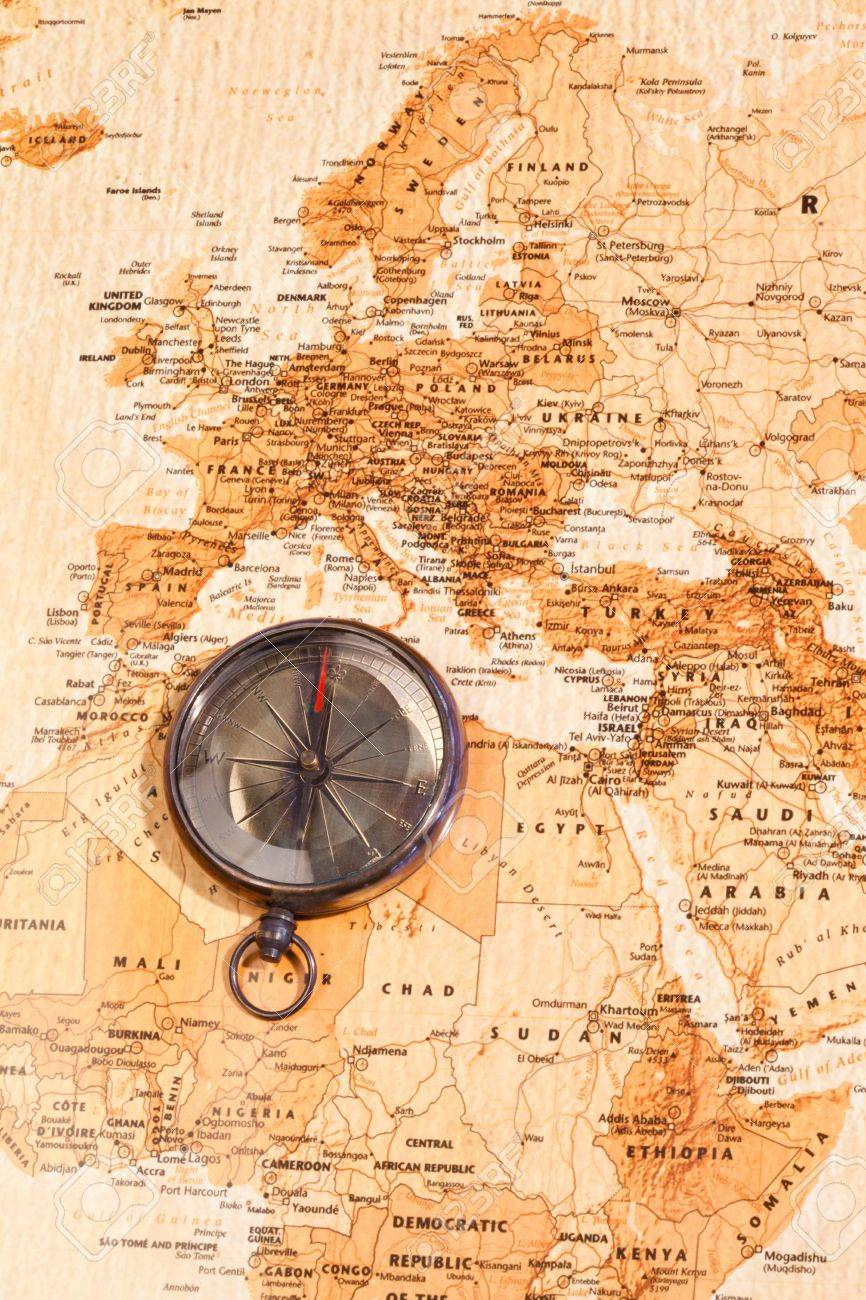 World Map With Compass Showing North Africa And Europe Stock Photo