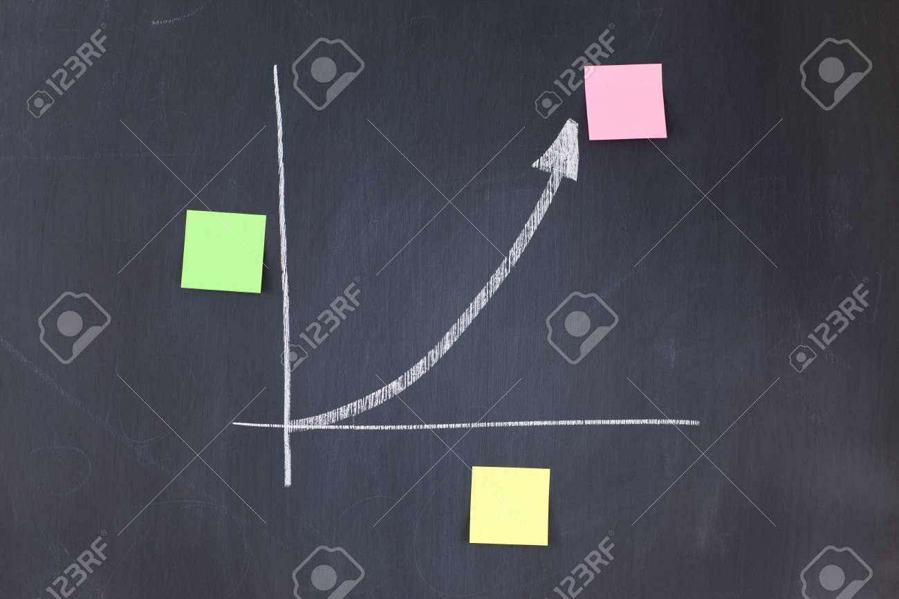 Color sticky notes on a graphic on a blackboard Stock Photo - 10206910