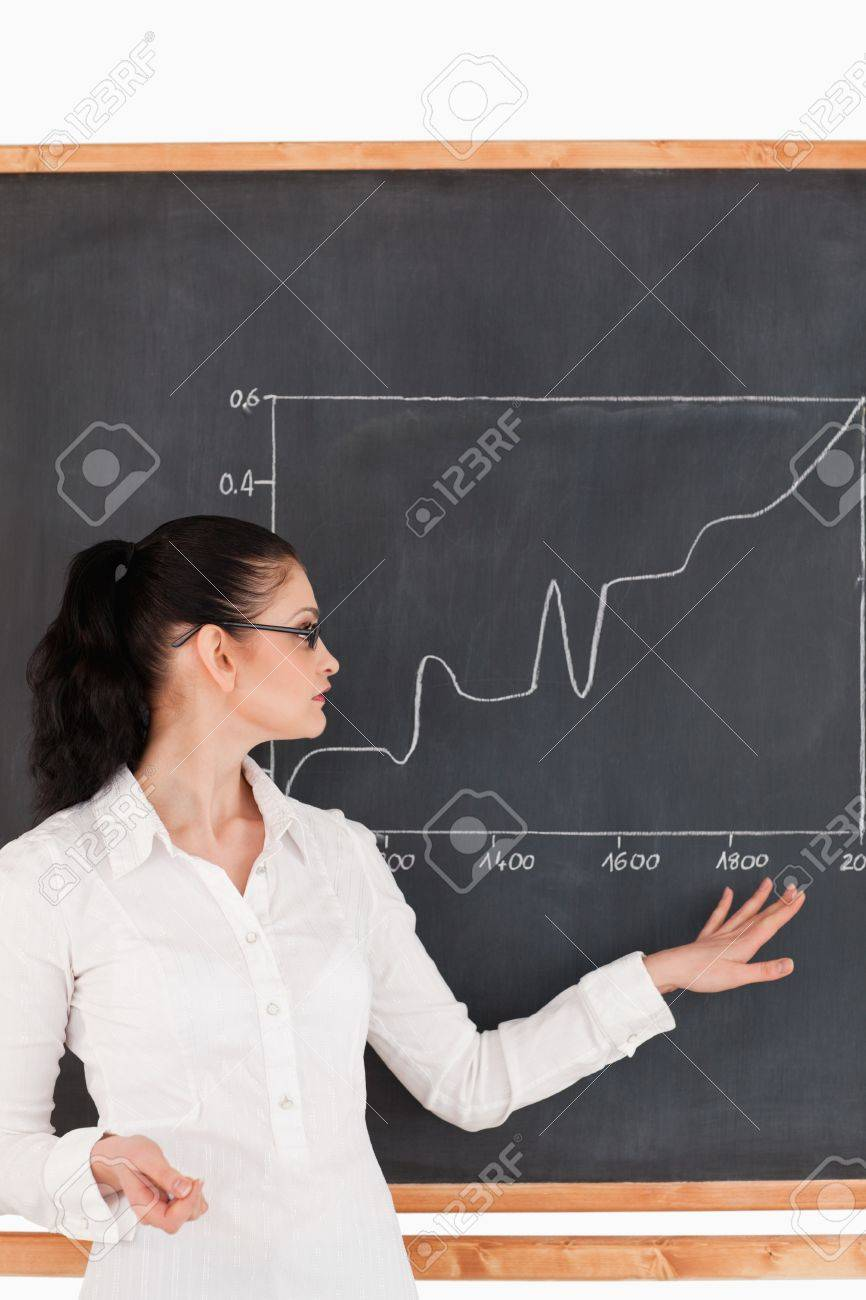 Dark-haired teacher explaining charts to students in a classroom Stock Photo - 10206645
