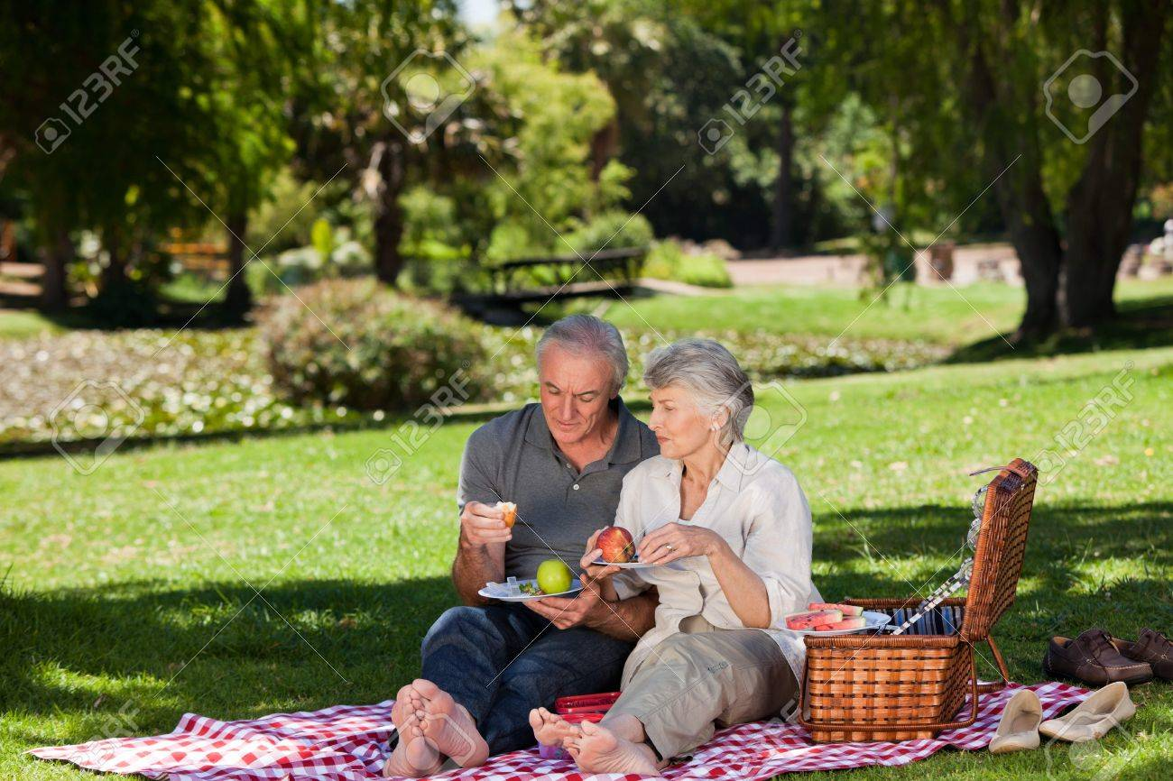 Elderly couple  picnicking in the garden Stock Photo - 10198633