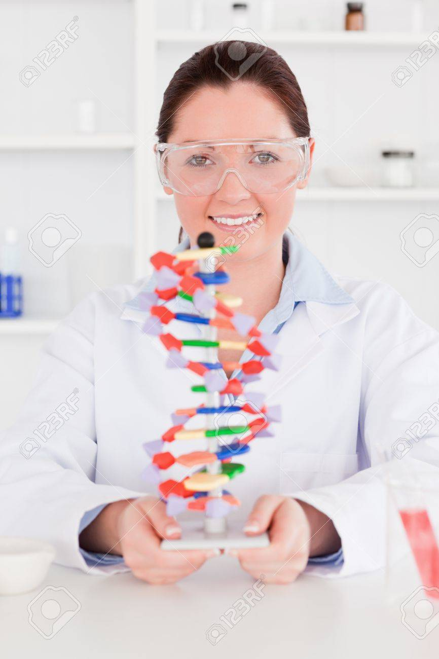 Young scientist showing the dna double helix model Stock Photo - 10218134