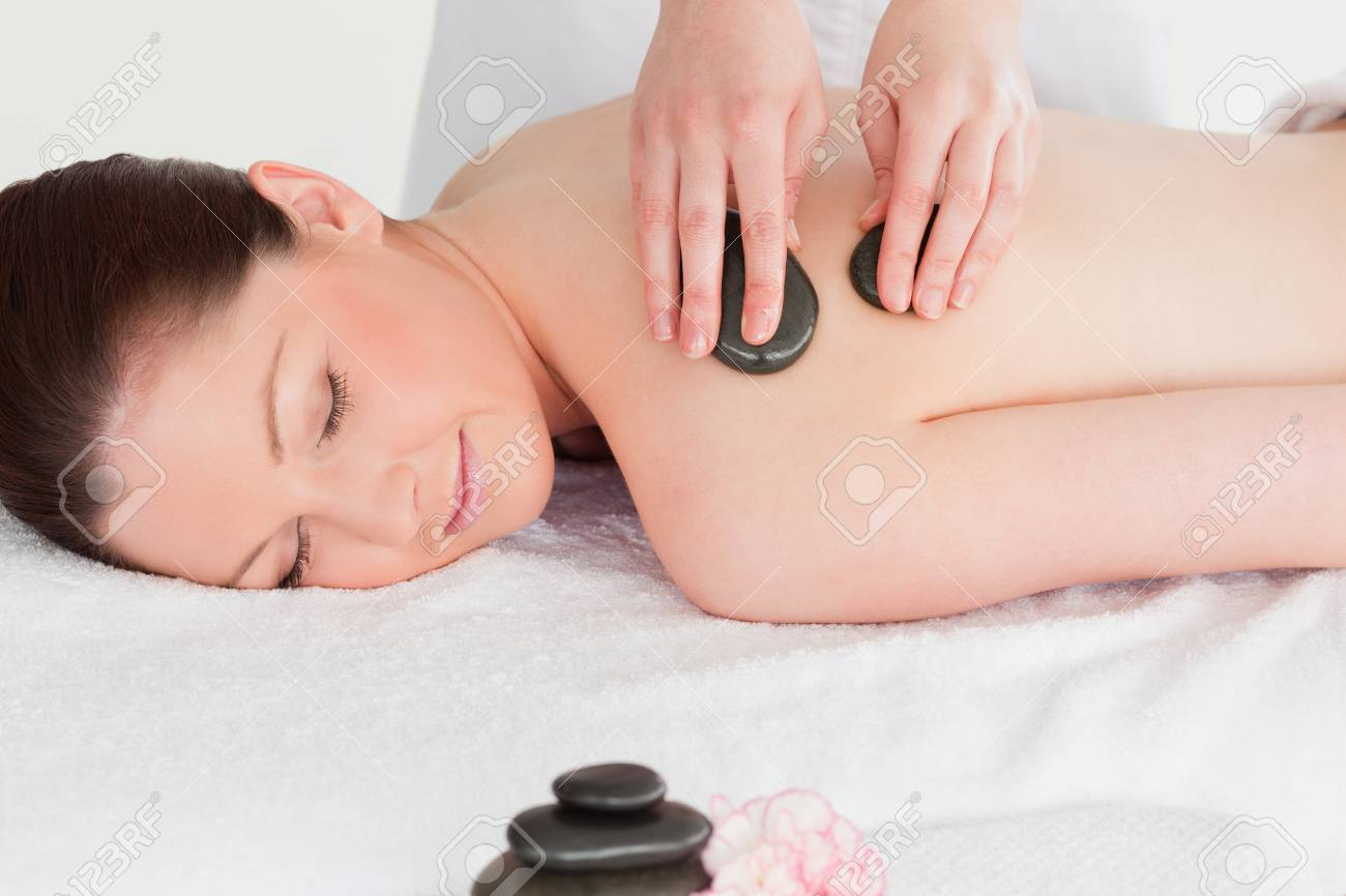 Beautiful young woman having a LaStone therapy Stock Photo - 10220256