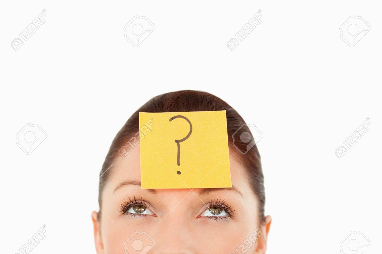 Young woman with a question tag on her forehead against a white background Stock Photo - 10213040