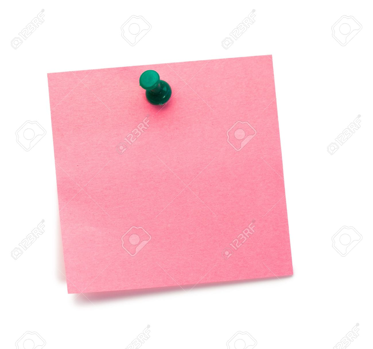 Pink post-it with drawing pin on a white background Stock Photo - 10231838