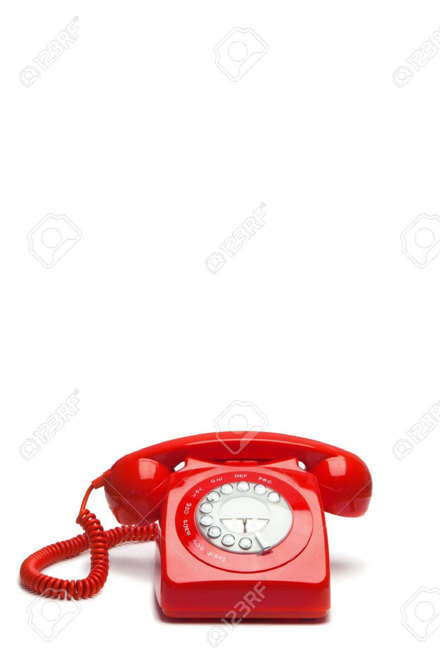 Antique red phone on a white background Stock Photo - 10230048