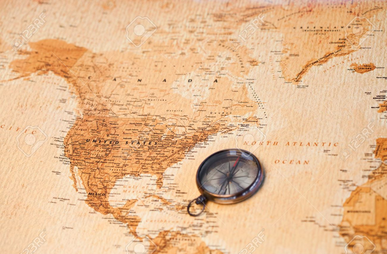 World Map With Compass Showing North America Stock Photo, Picture