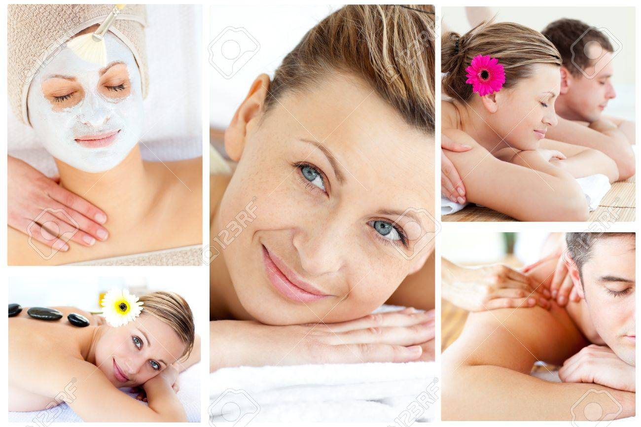 Collage of young people relaxing in a Spa centre Stock Photo - 10232046
