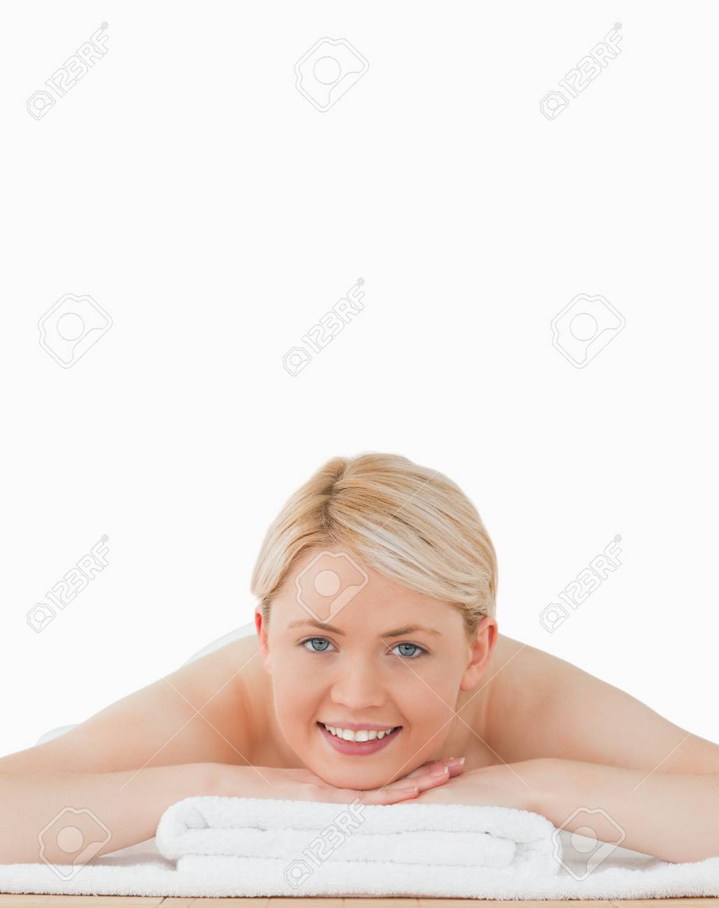 Young beautiful blonde woman posing in a spa centre Stock Photo - 10191556