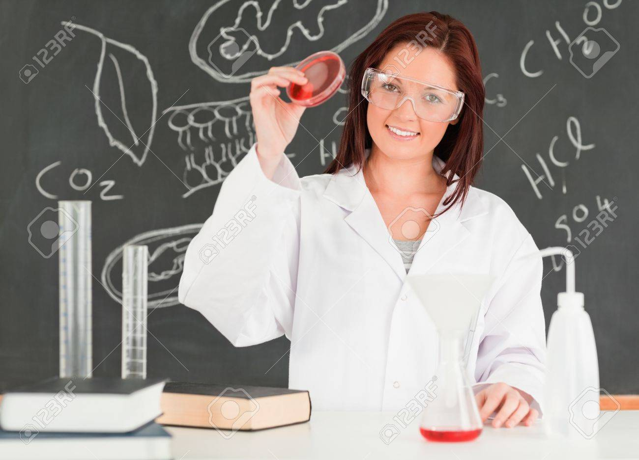 Beautiful scientist showing a petri dish in a classroom Stock Photo - 10074410