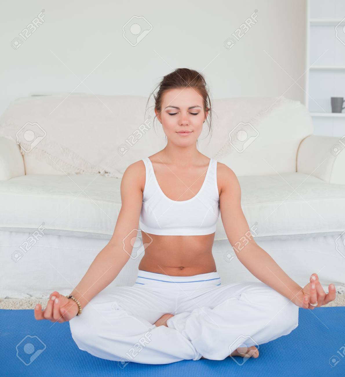 Calm brunette practicing yoga in her living room Stock Photo - 10070401