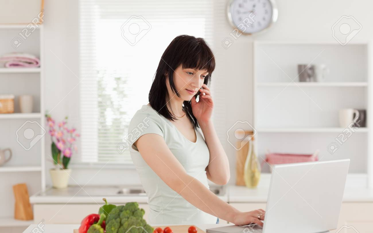 Lovely brunette woman on the phone while relaxing with her laptop in the kitchen Stock Photo - 10070343