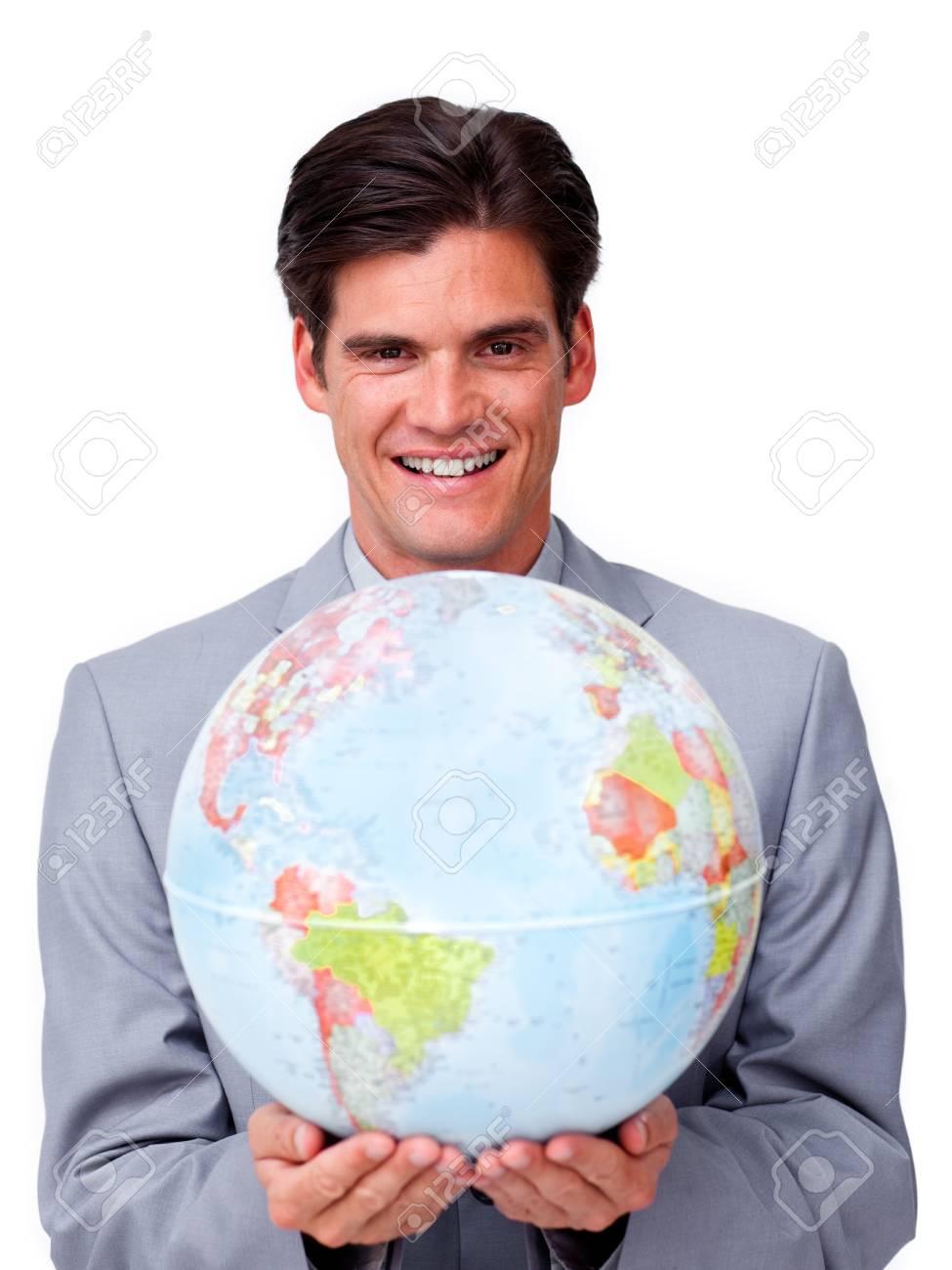 Handsome businessman holding a terrestrial globe Stock Photo - 10075728