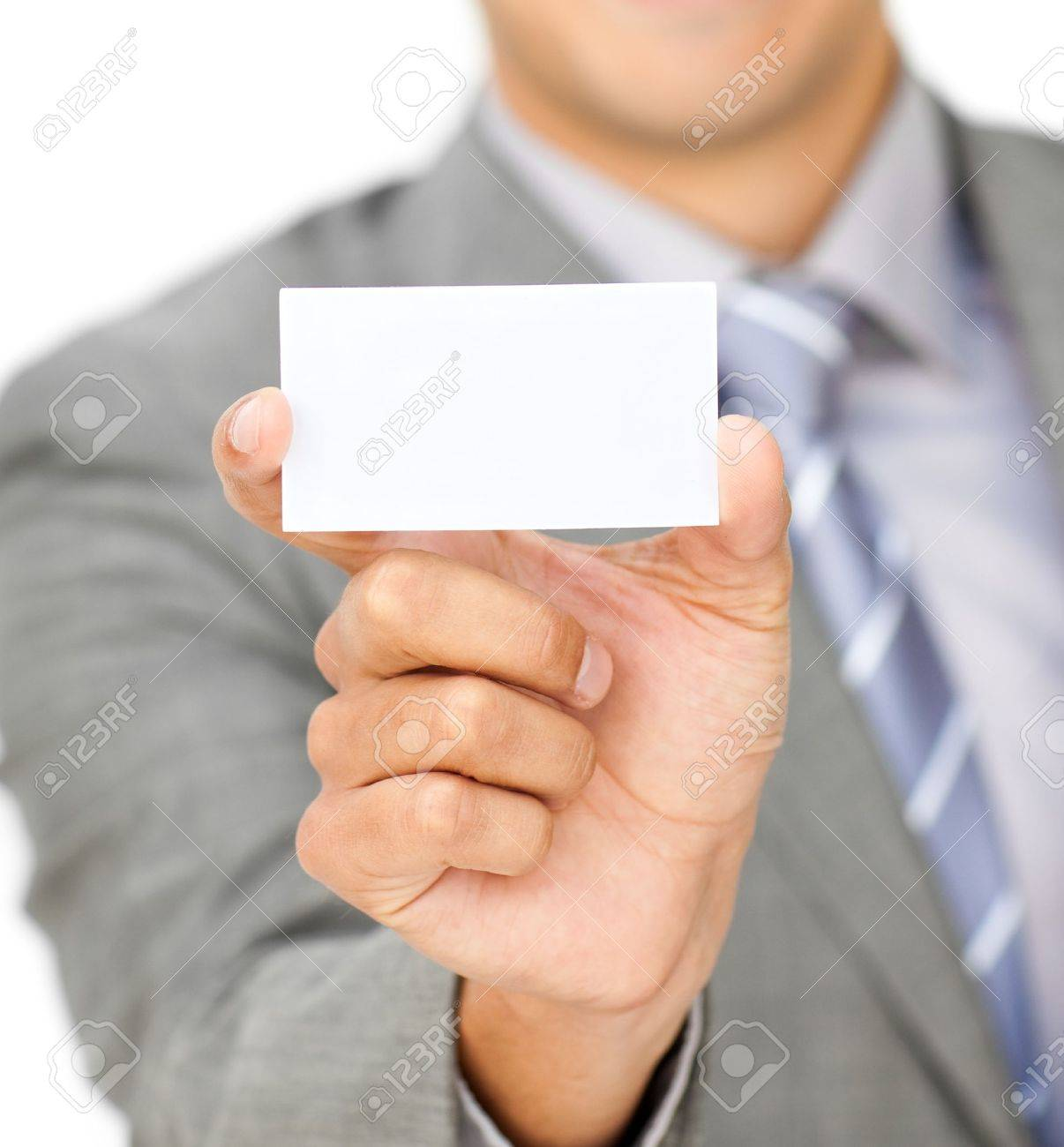 Focus on a white card Stock Photo - 10075415