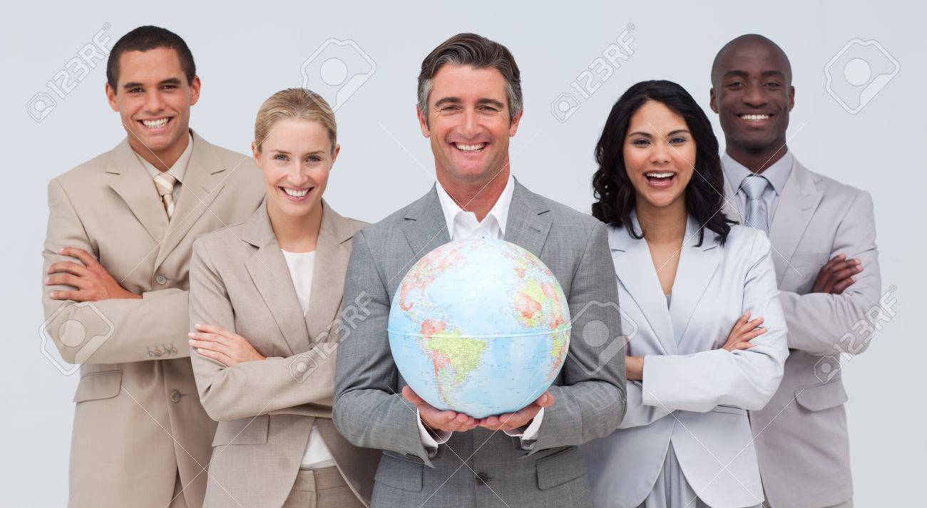 Business team holding a terrestrial globe Stock Photo - 10088161