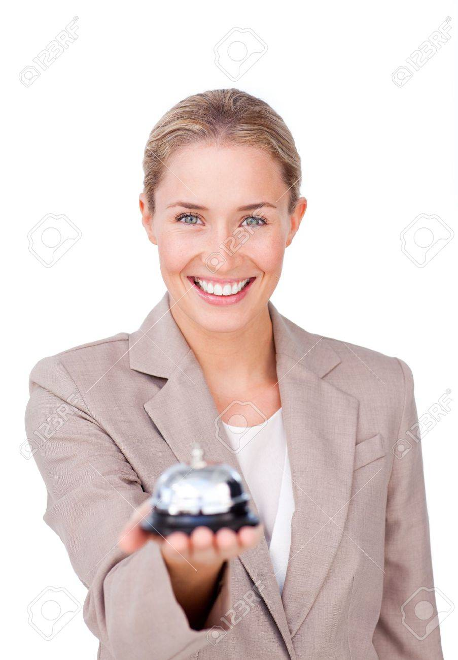 Radiant businesswoman holding a bell Stock Photo - 10087673