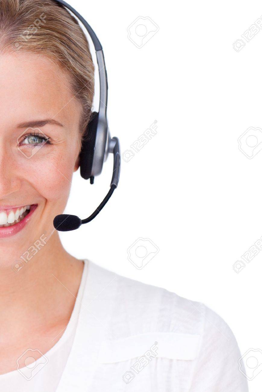 Radiant businesswoman making a sign Stock Photo - 10075414