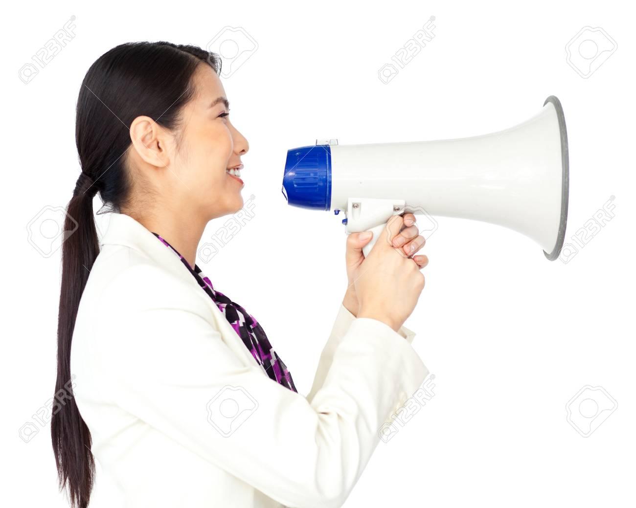 Assretive businesswoman with megaphone Stock Photo - 10090543