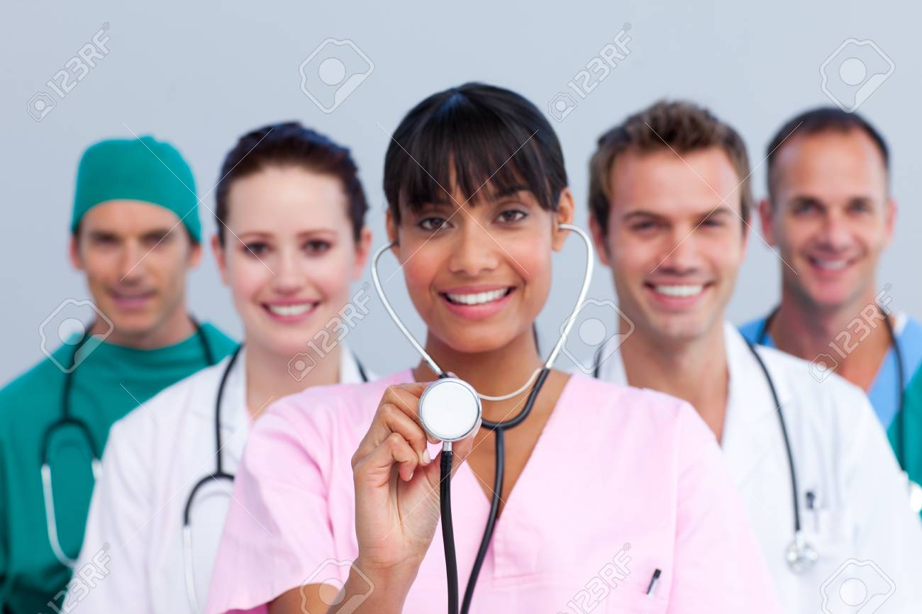Portrait of a young medical team Stock Photo - 10095166