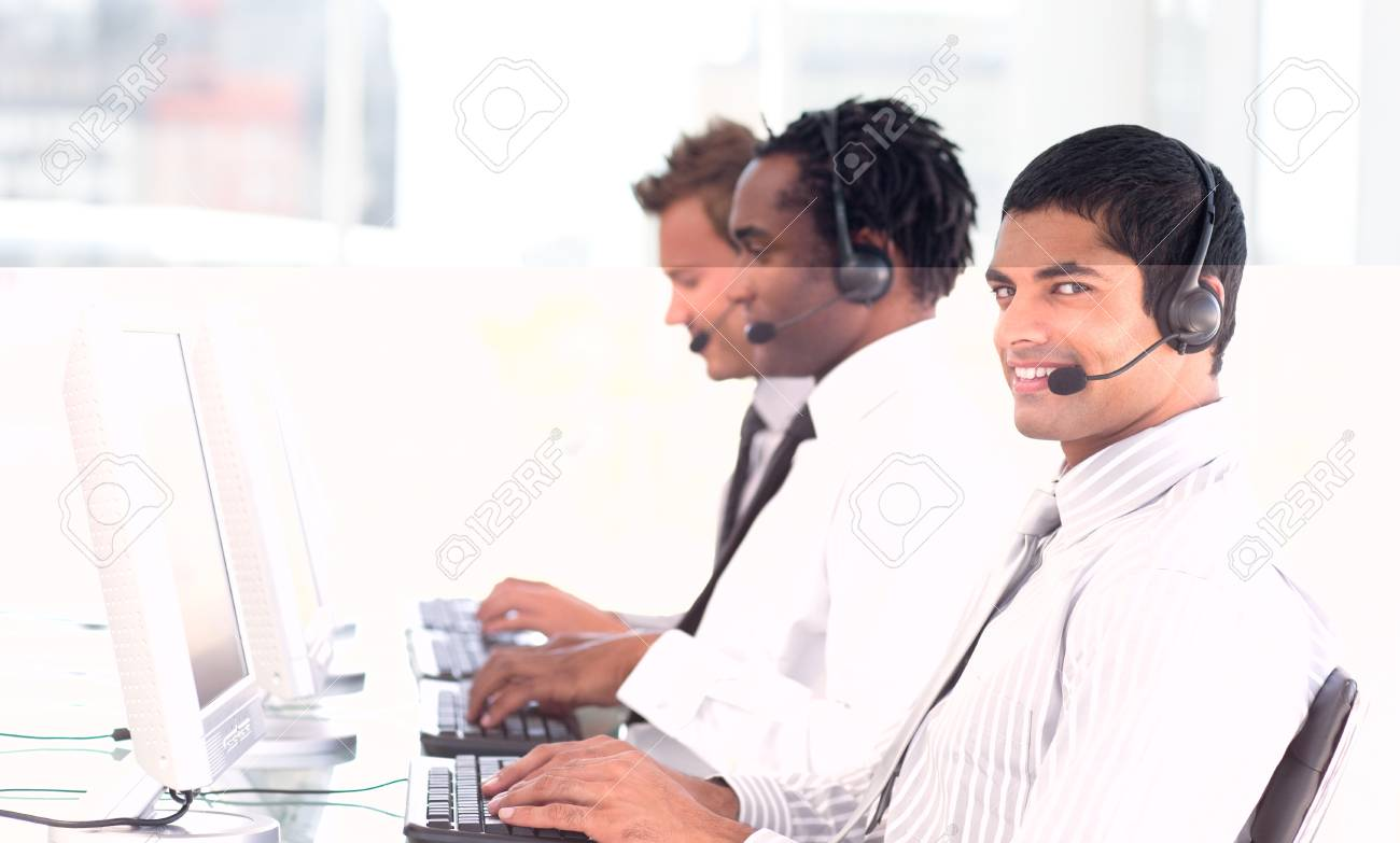 Busy team in a call center Stock Photo - 10110591