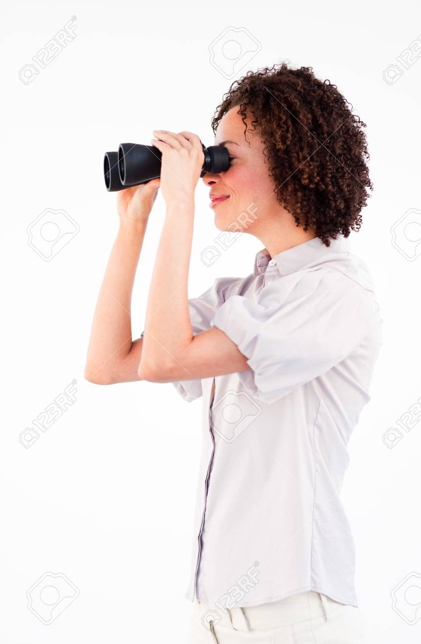 Sideways portrait of businesswoman with binoculars Stock Photo - 10095941