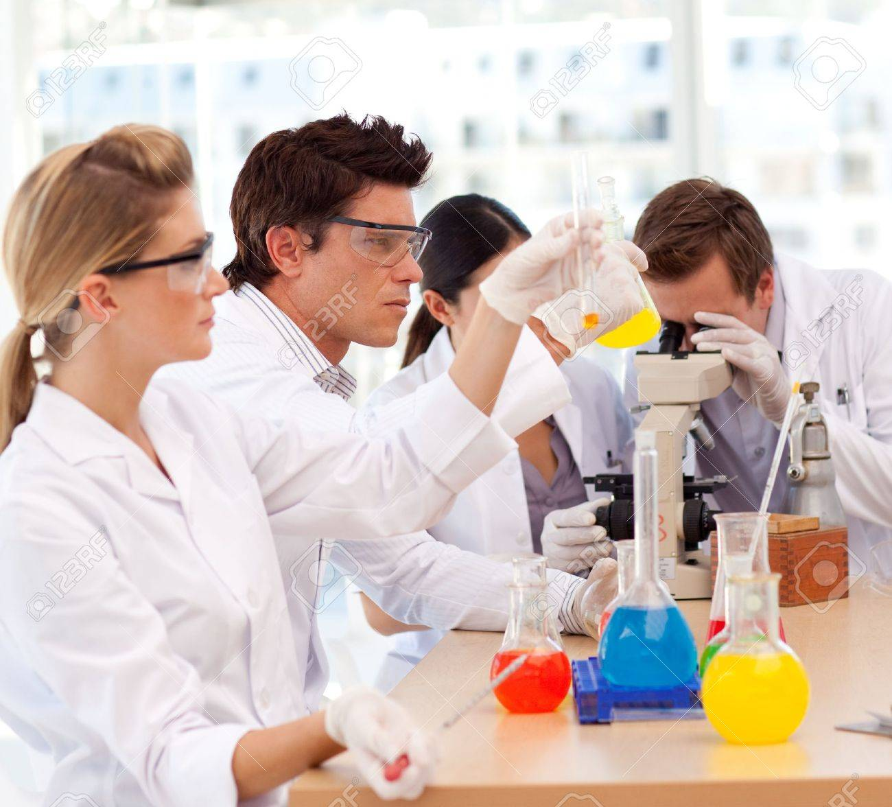 Scientists working in a laboratory Stock Photo - 10110636