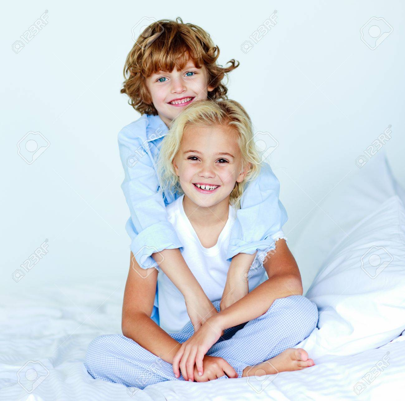 Brother Hugging His Sister Good Night Stock Photo Picture And