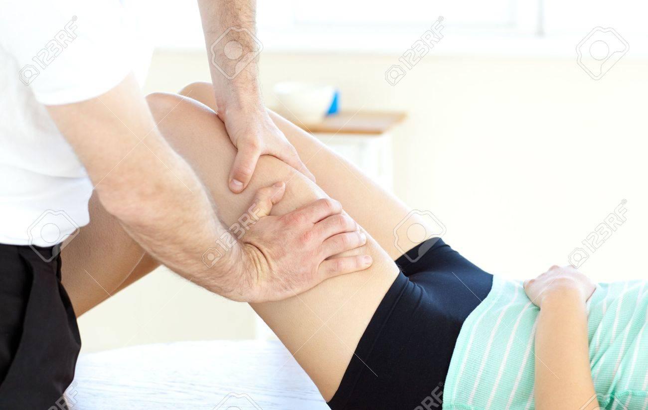 Close-up of a woman receiving a leg massage Stock Photo - 10095959