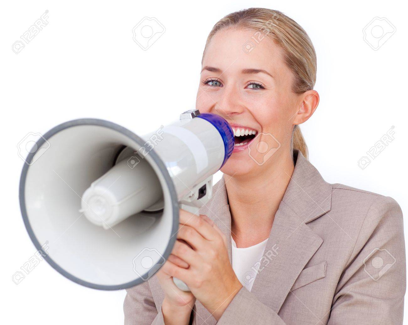 Self-assured businesswoman sending a text Stock Photo - 10215928