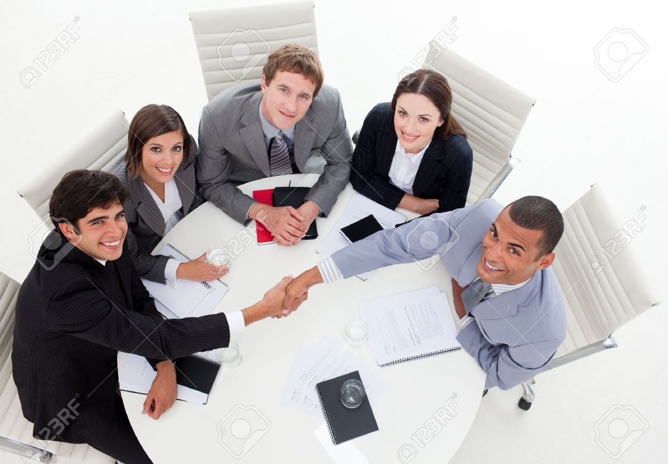 A diverse business group closing a deal Stock Photo - 10257219