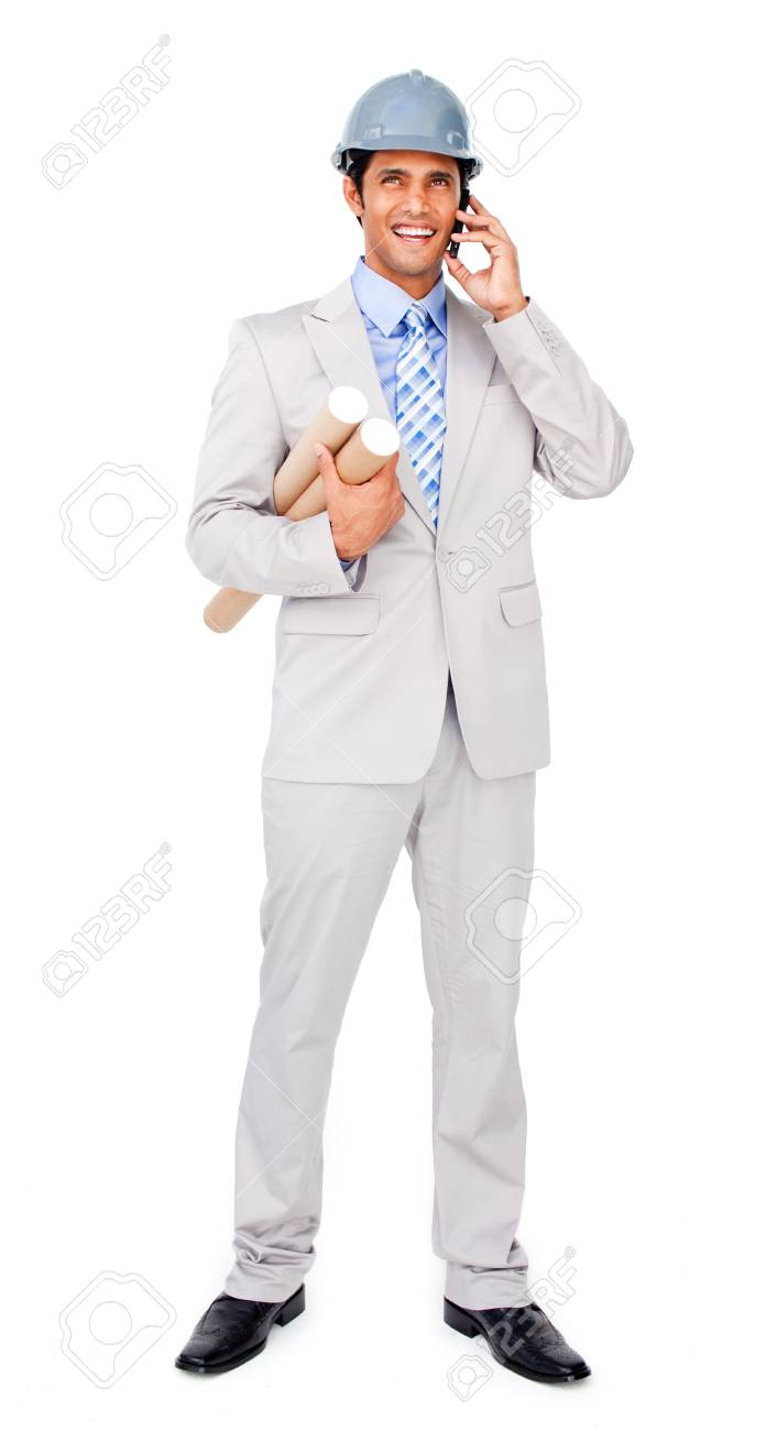 Attractive architect with a hardhat on phone Stock Photo - 10221778
