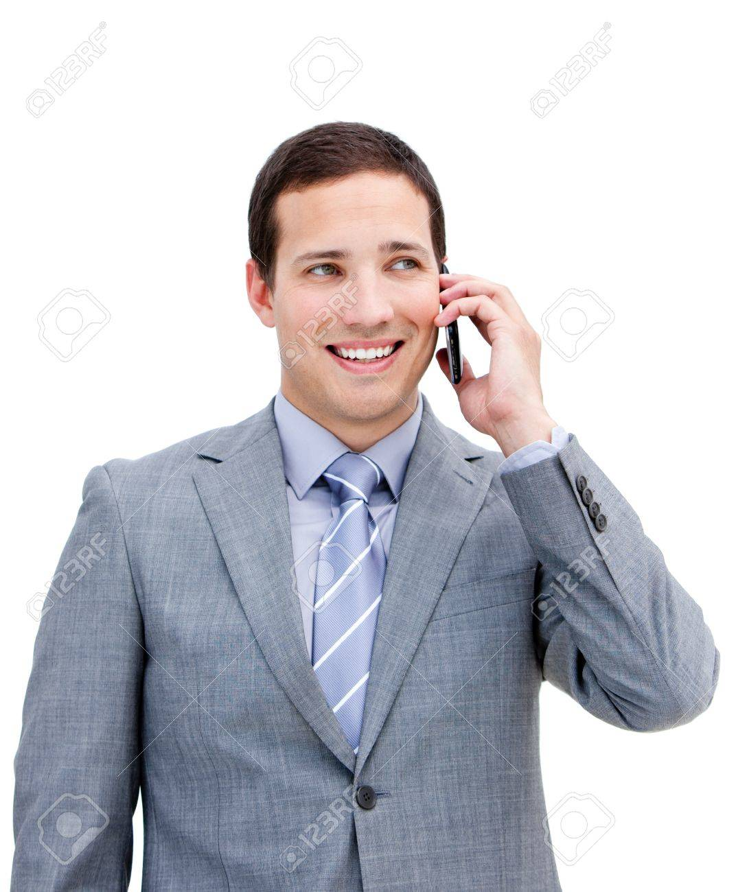 Portrait of a young businessman on phone Stock Photo - 10258201