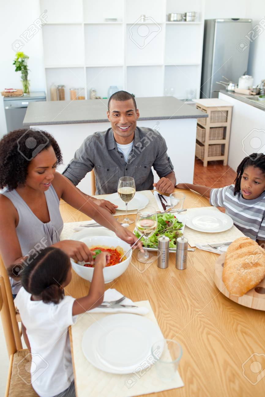 Ethnic family dining together Stock Photo - 10240475