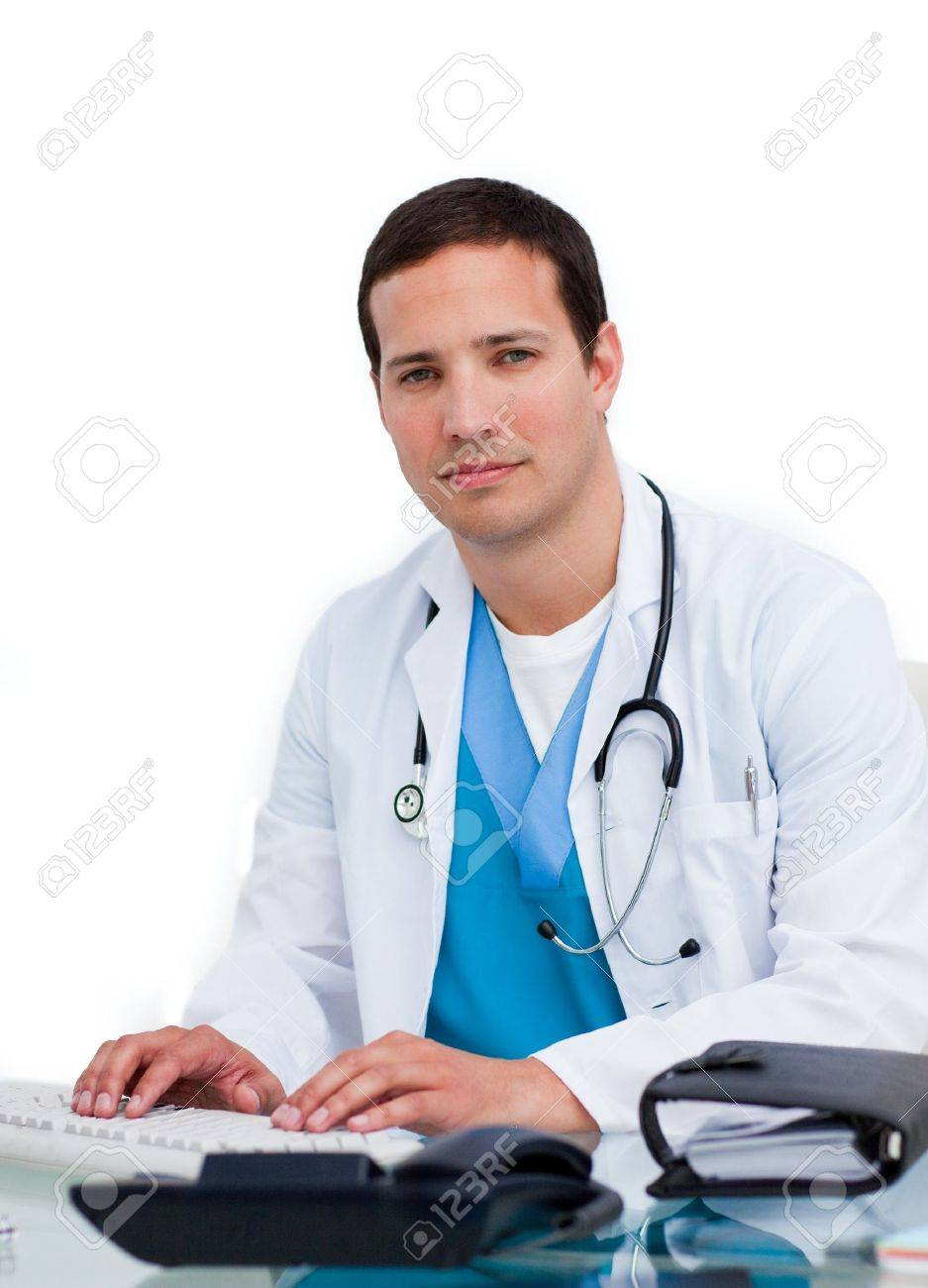 Handsome doctor with his computer Stock Photo - 10243864