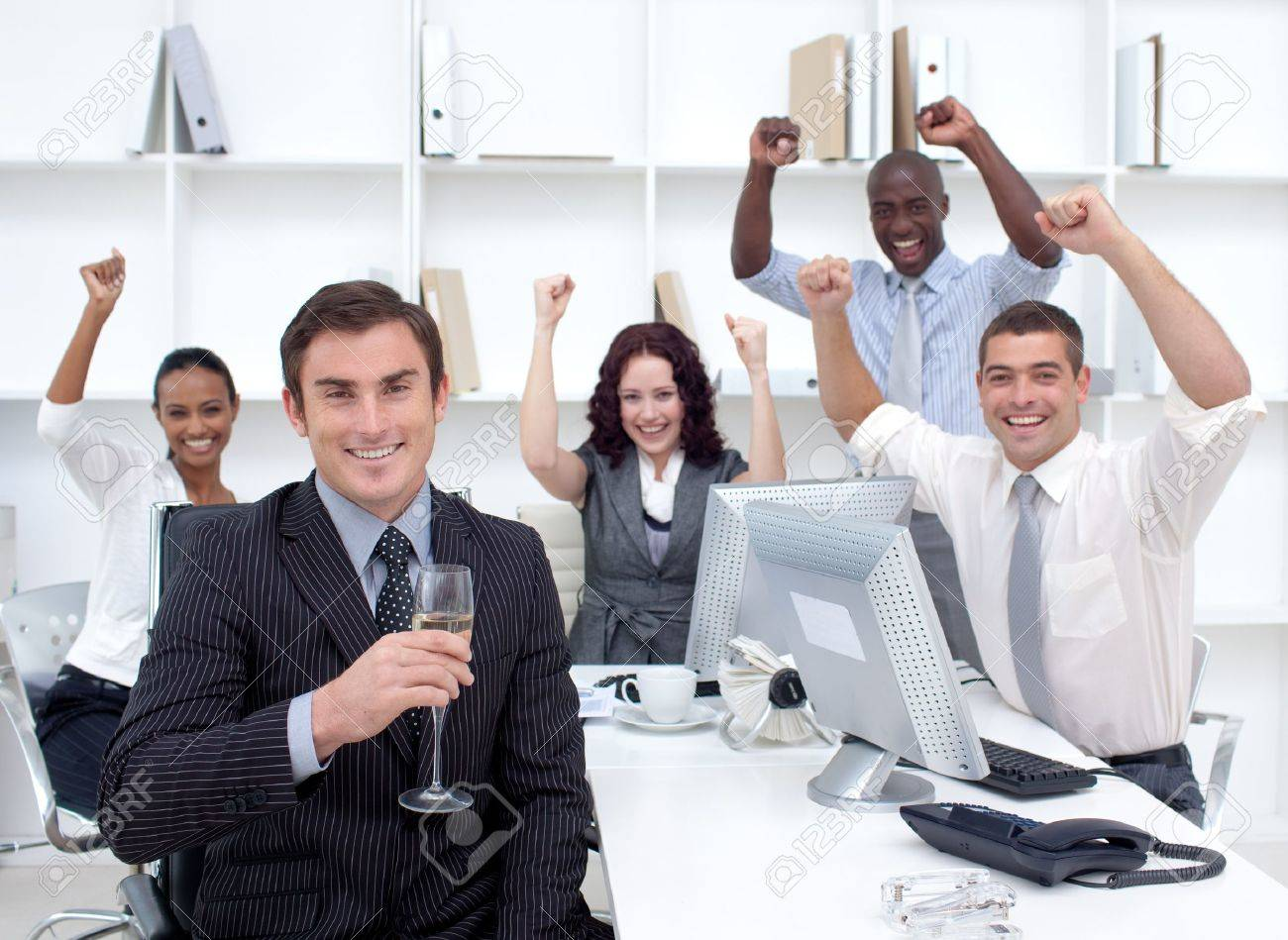 Happy Businessteam Celebrating A Success In Office Stock Photo Picture And Royalty Free Image Image 10244681