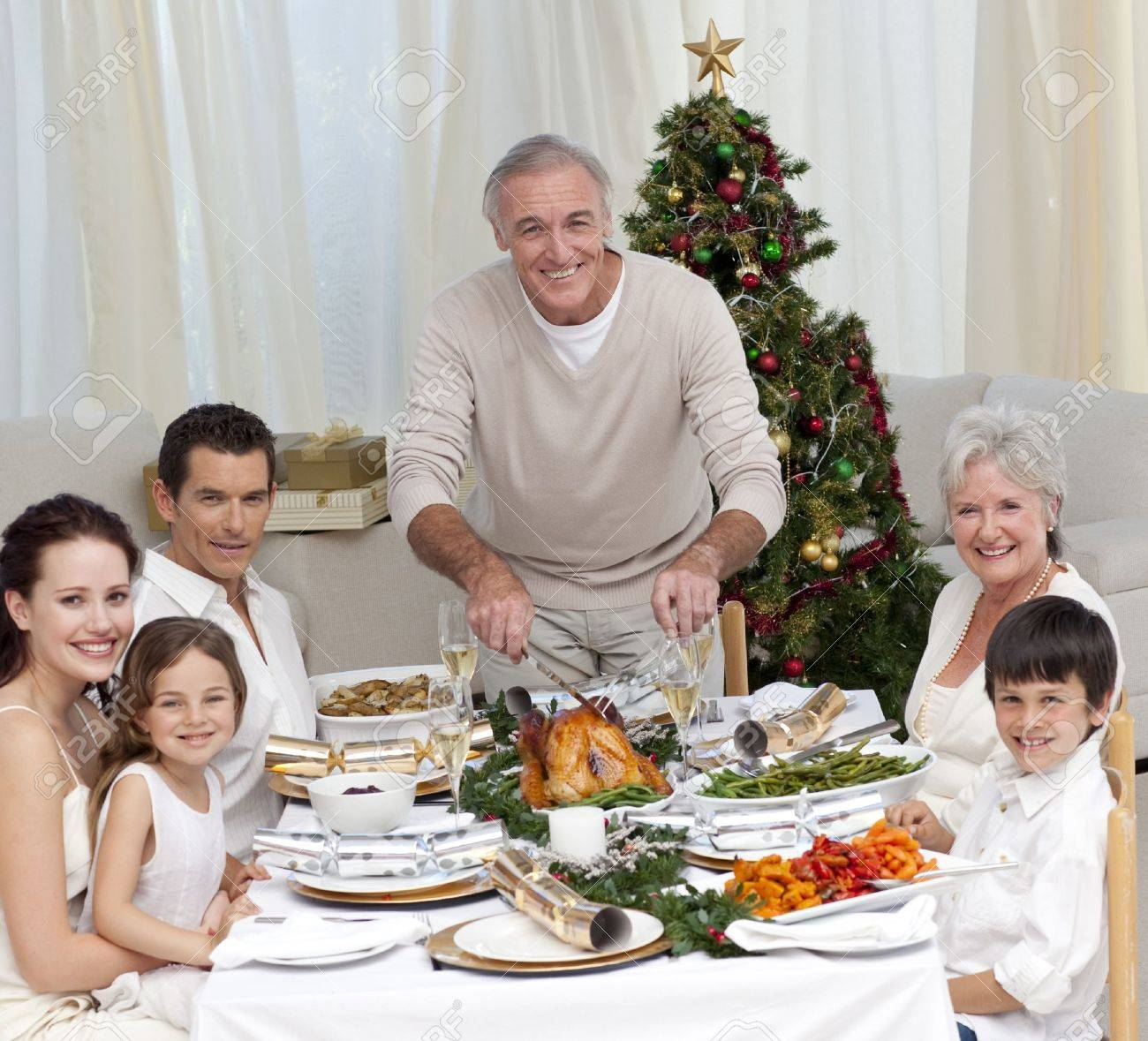 Grandfather cutting turkey for Christmas dinner Stock Photo - 10259549