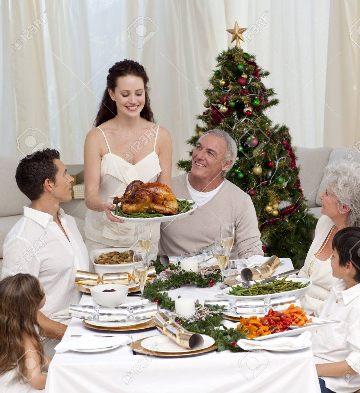 Mother showing turkey to her family for Christmas Stock Photo - 10256857