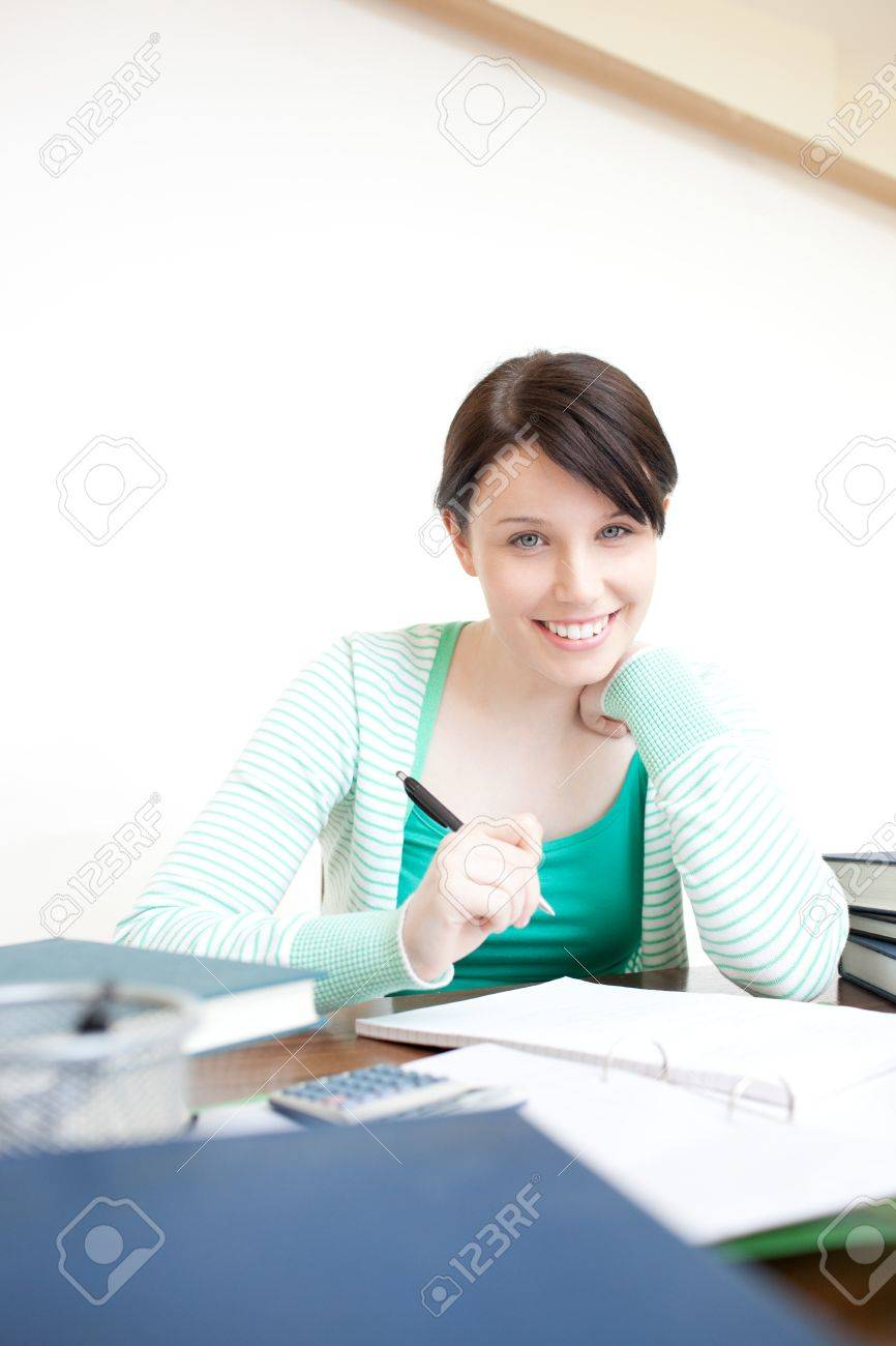 Happy young woman studying Stock Photo - 10256181