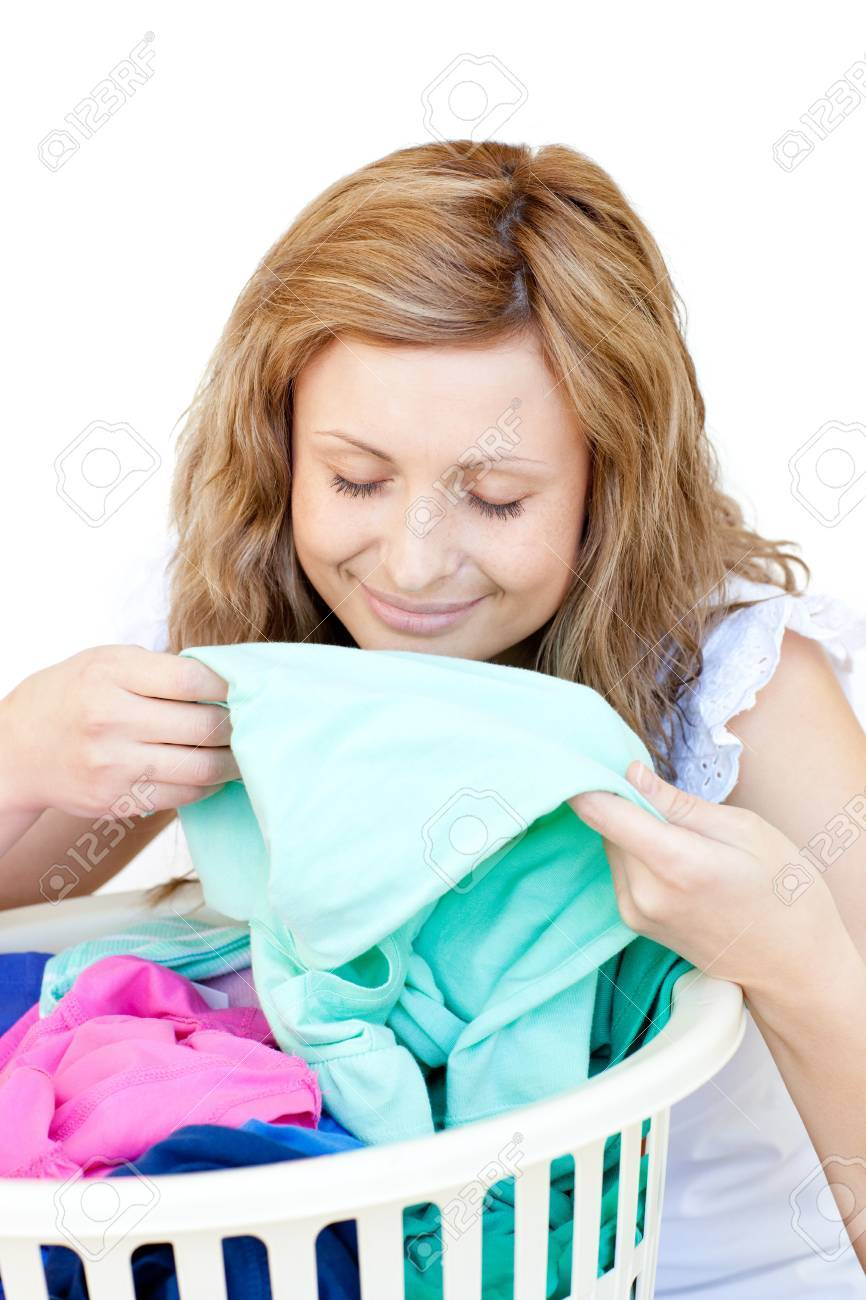 Charming woman doing laundry Stock Photo - 10249984