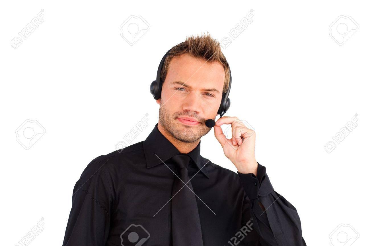 Serious customer service representative man Stock Photo - 10250412
