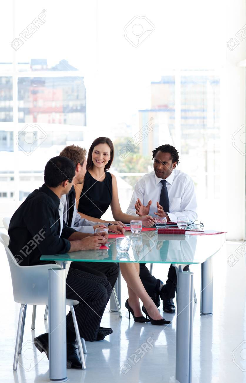 Business team working together in office with copy-space Stock Photo - 10247487
