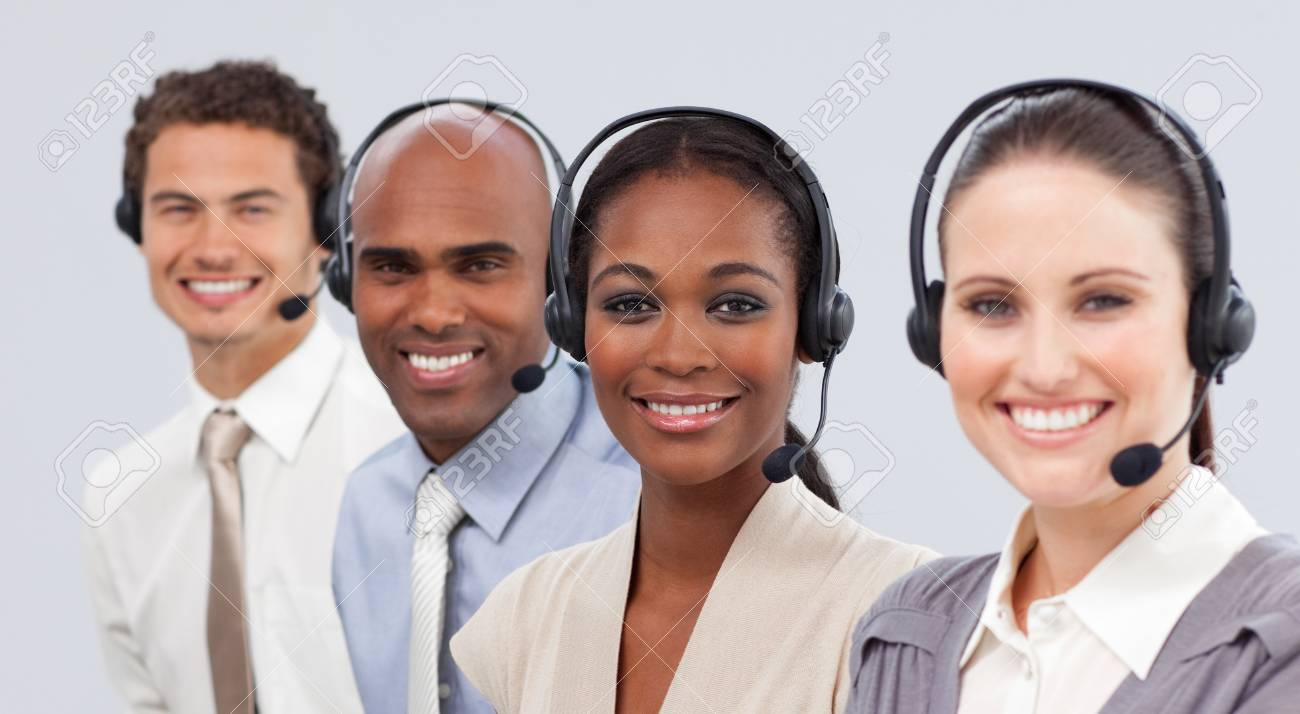 International business people with headset on in a line Stock Photo - 10245885