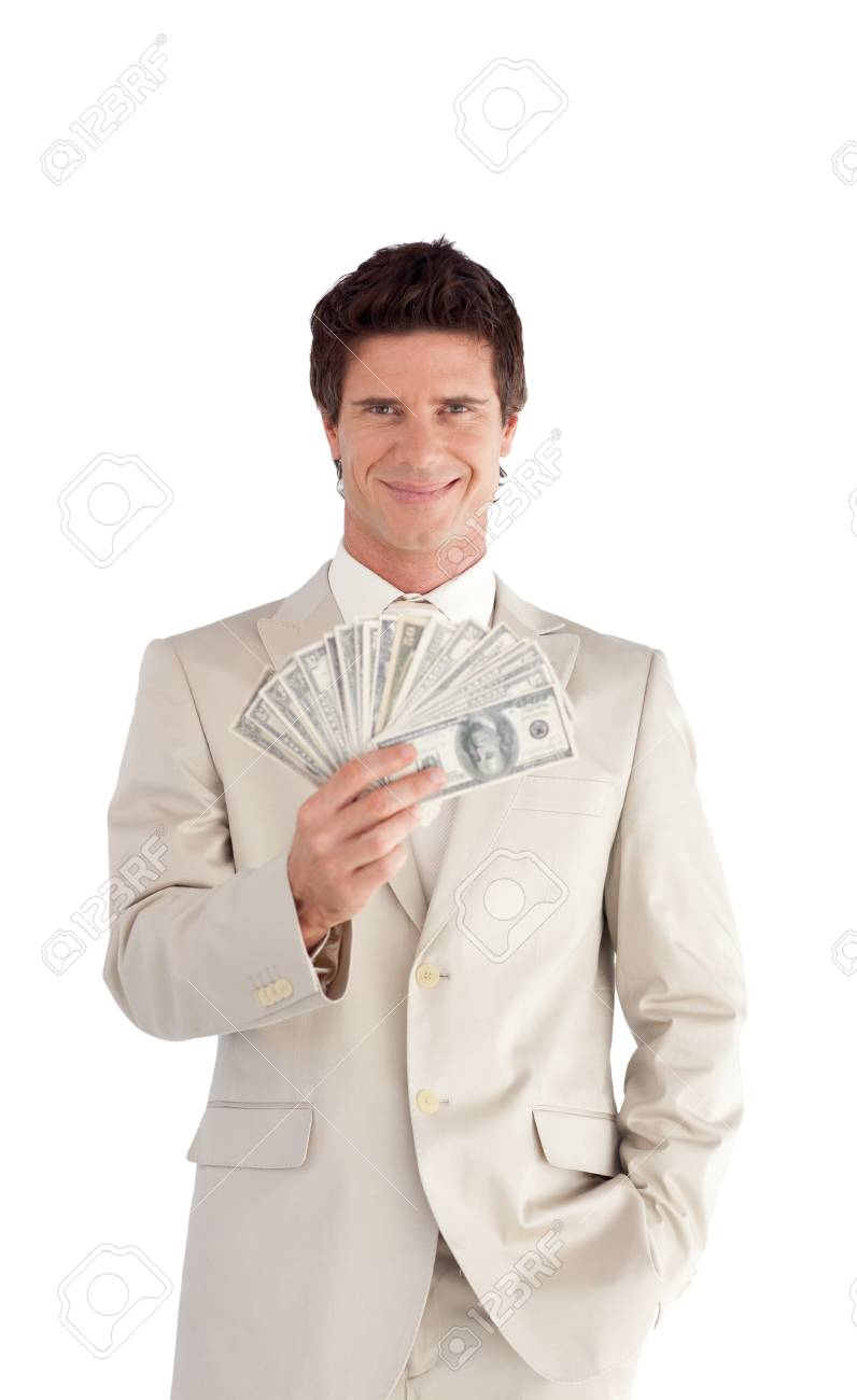 Mature Businessman holding Dollars Stock Photo - 10247122