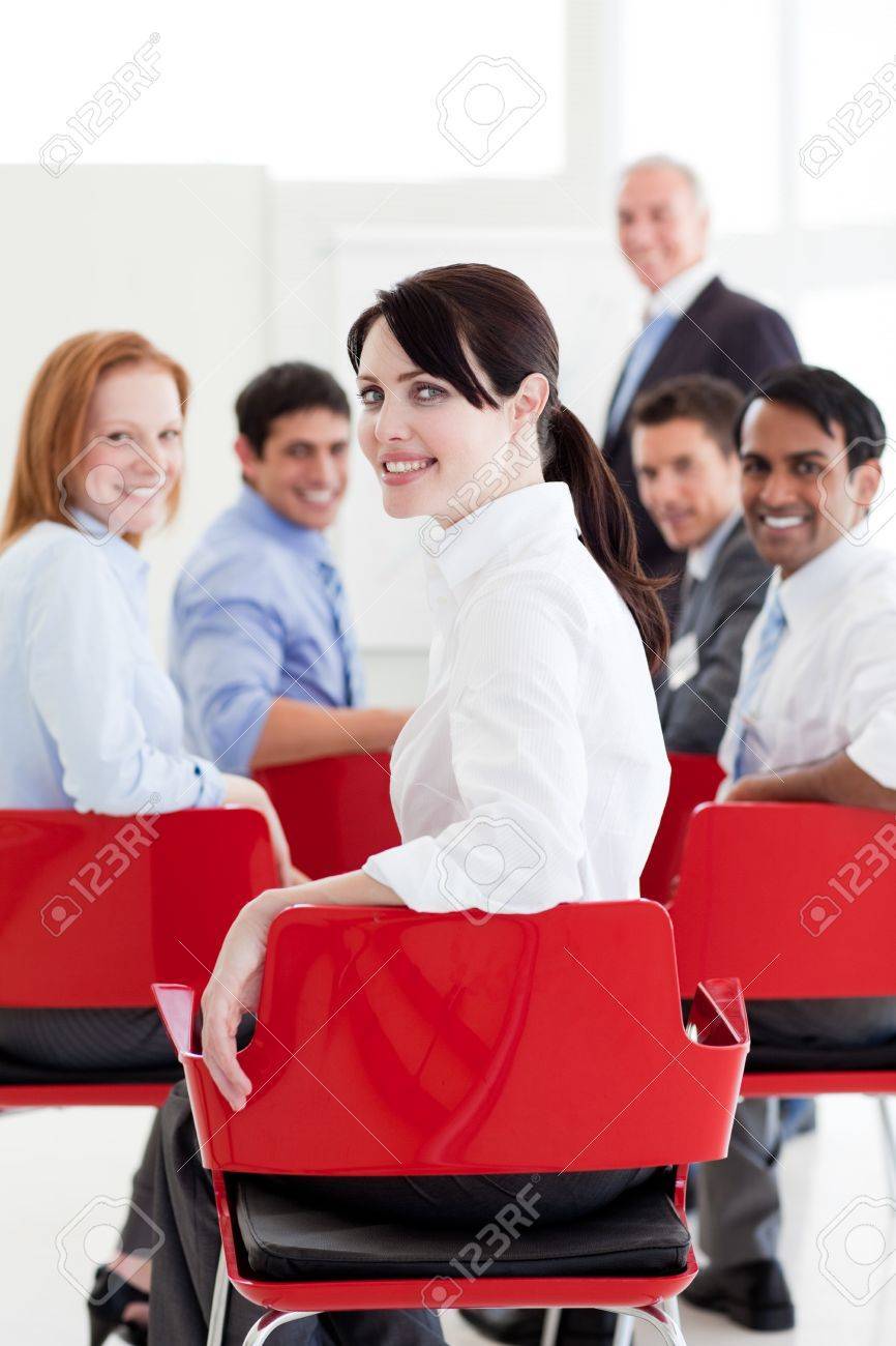 Attractive caucasian businesswoman at a conference Stock Photo - 10246807