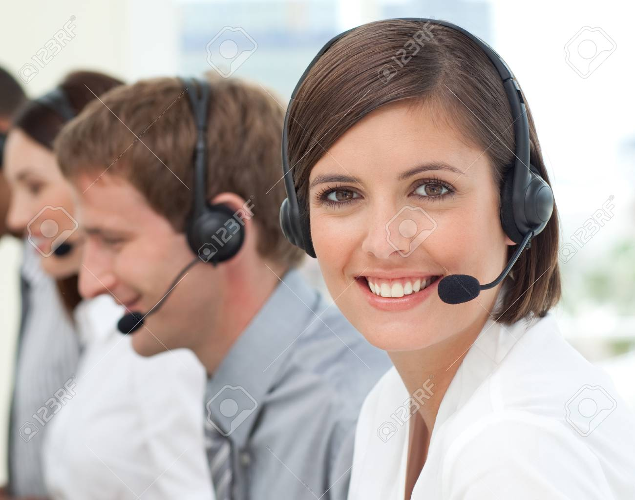 Female customer service agent in a call center Stock Photo - 10245912